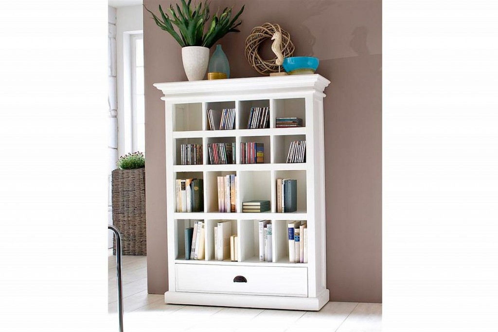 White Painted Bookcase with Drawers