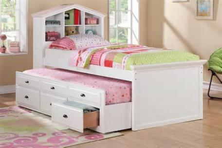 Image of: White Twin Bed With Drawers