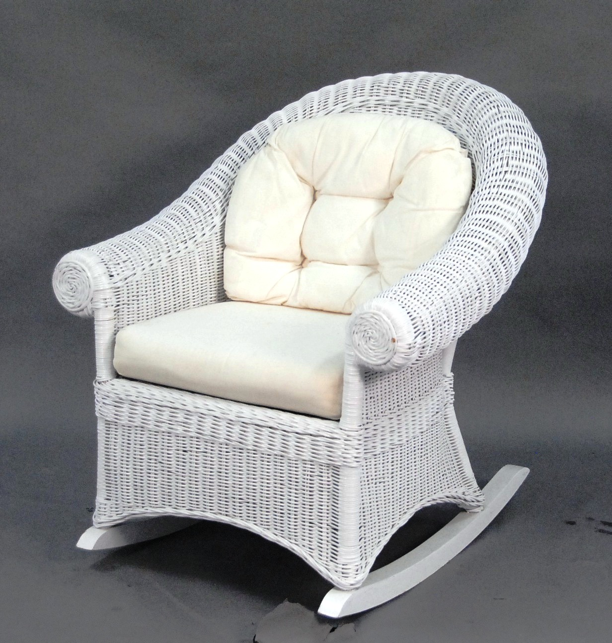Image of: White Wicker Rocking Chair