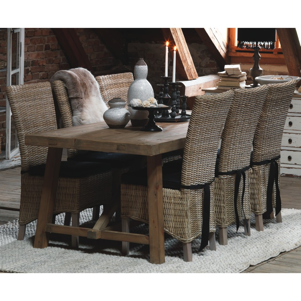 Image of: wicker dining chairs set