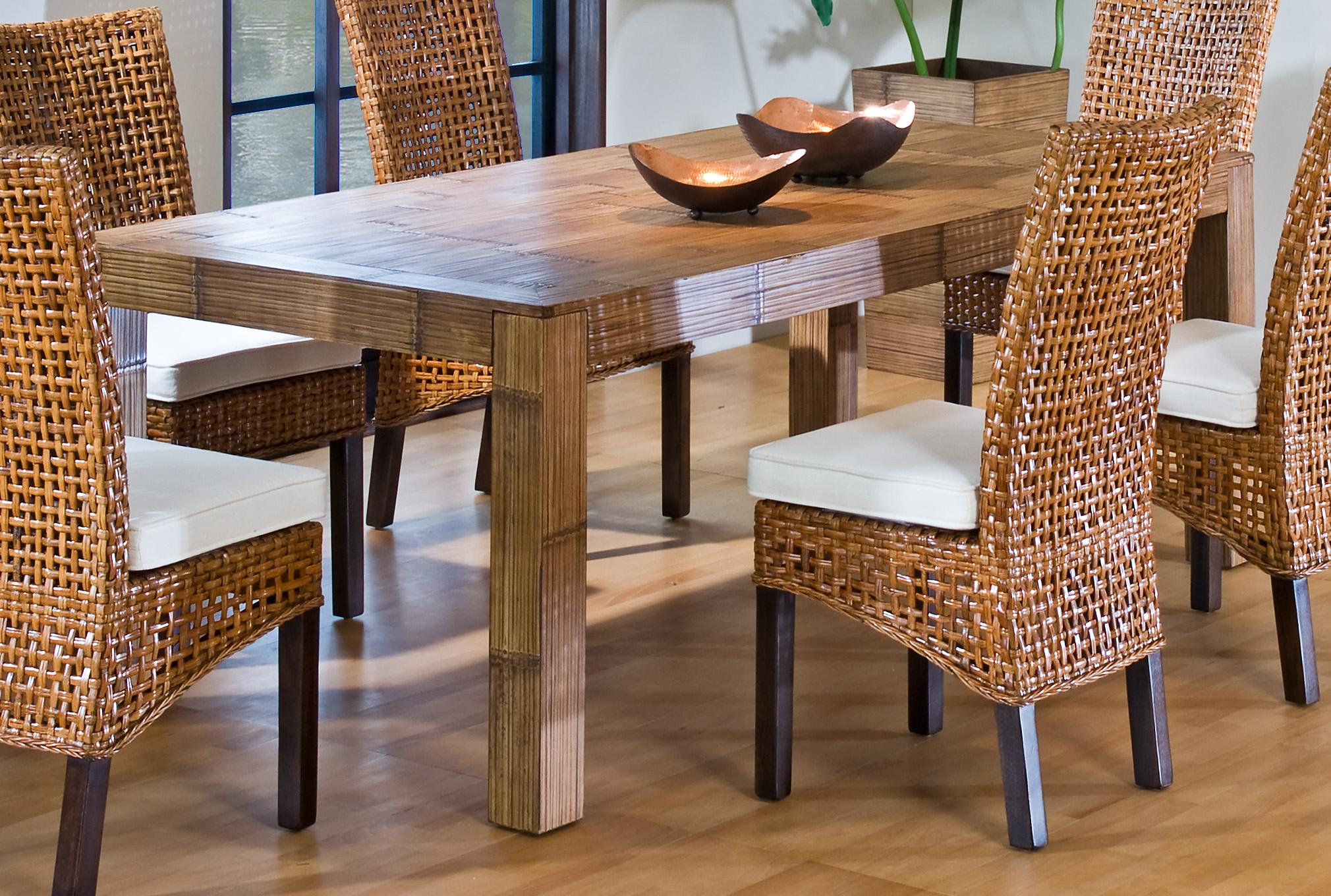 Image of: wicker dining chairs and table