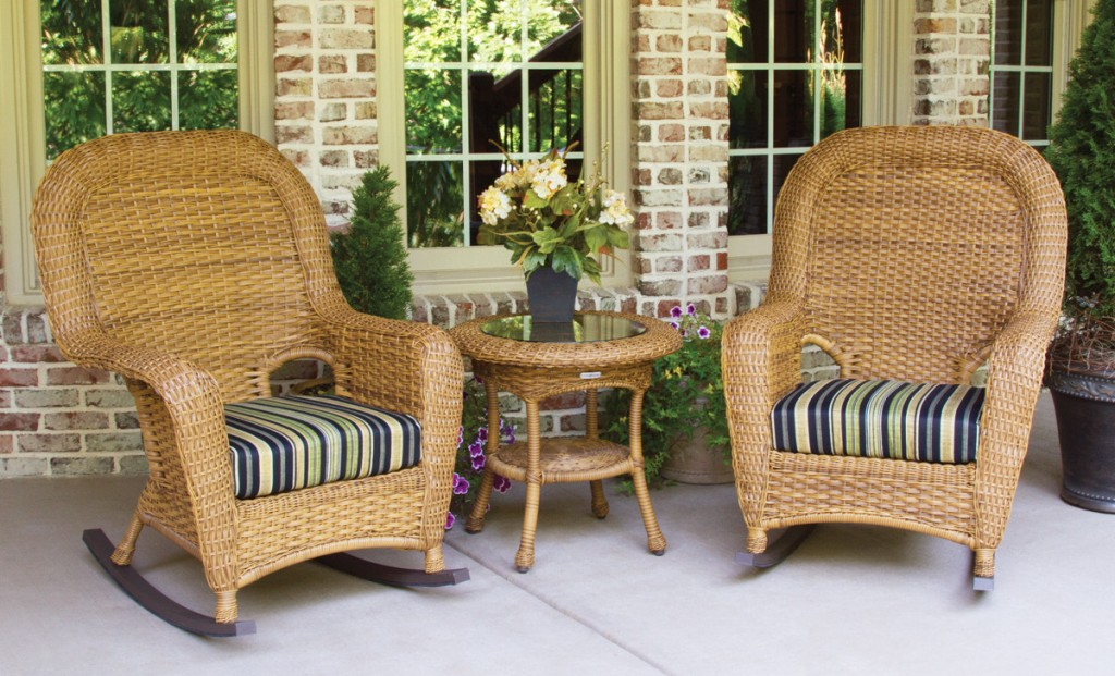 Image of: wicker rocking chair bistro set