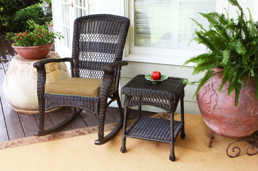 Image of: wicker rocking chair set