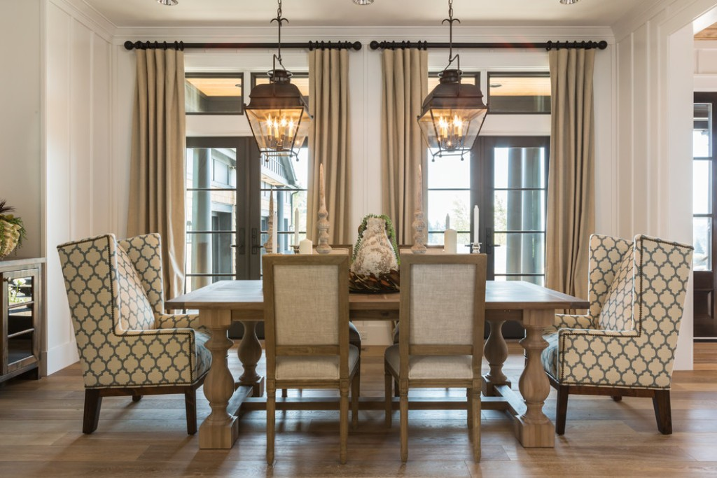 Image of: wingback dining chair and bench