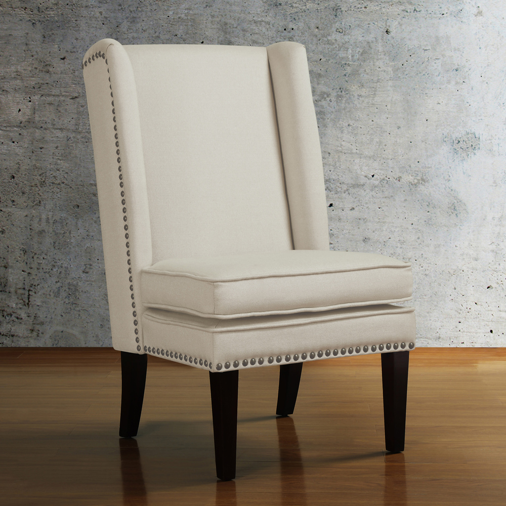 Image of: Wingback Dining Chair with Nailhead Trim