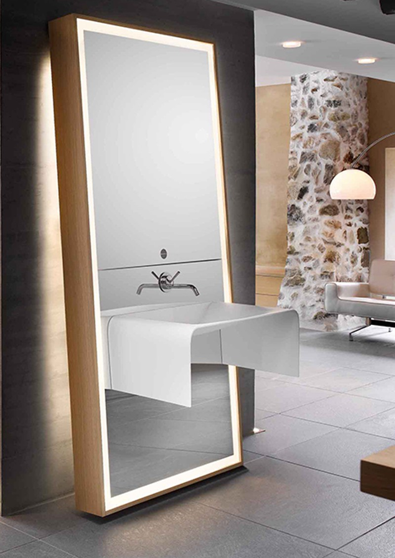 Image of: Wood Frame Full Length Mirror Vanity