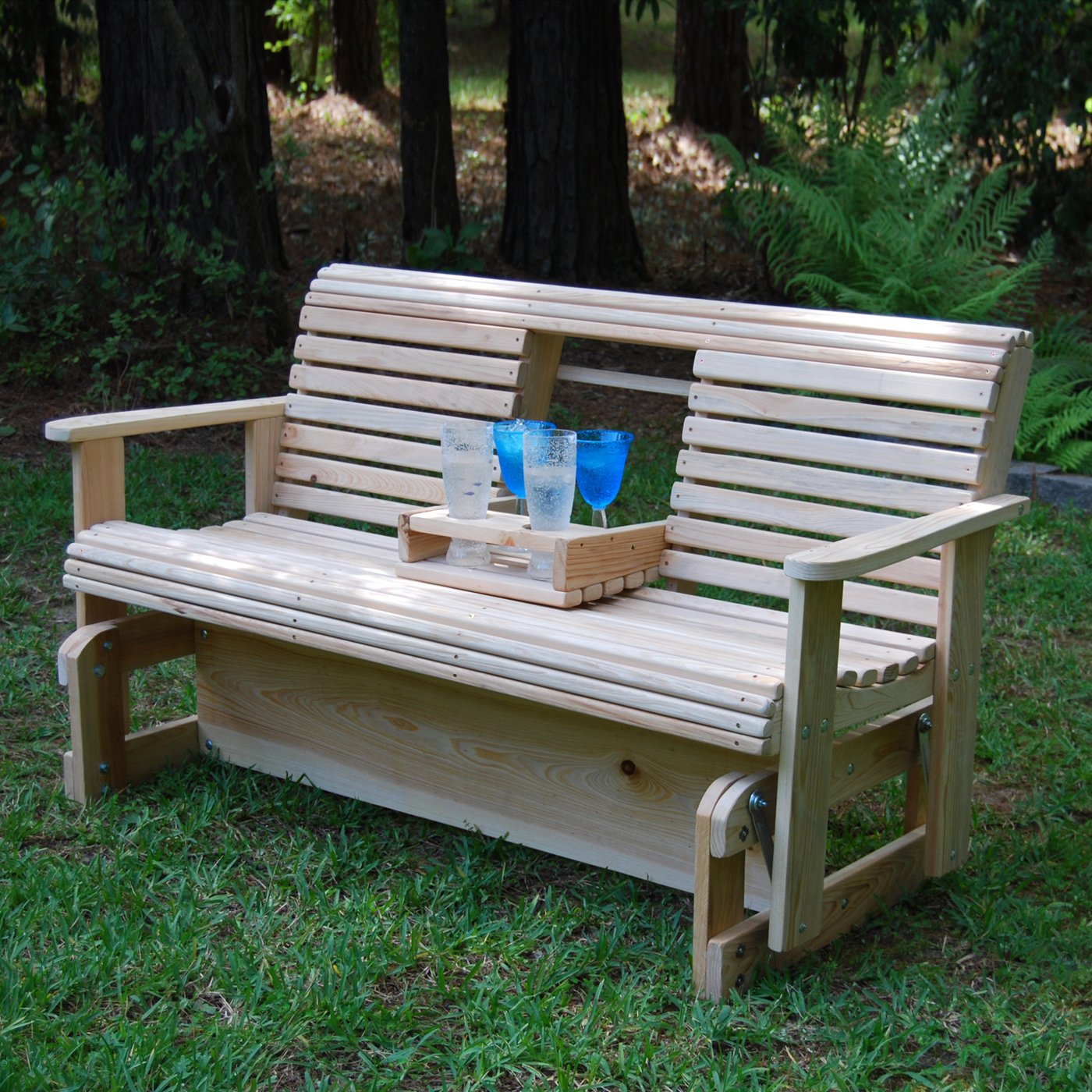 Image of: wood outdoor glider chair