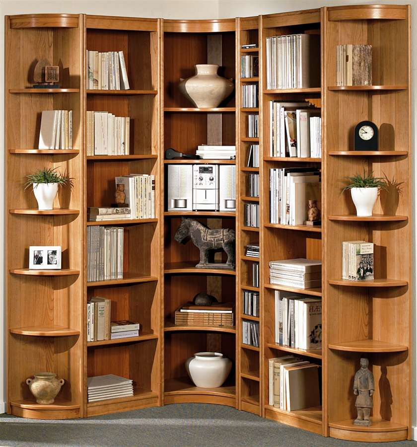 Image of: Wooden Corner Bookcase