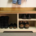 wooden entryway bench with storage