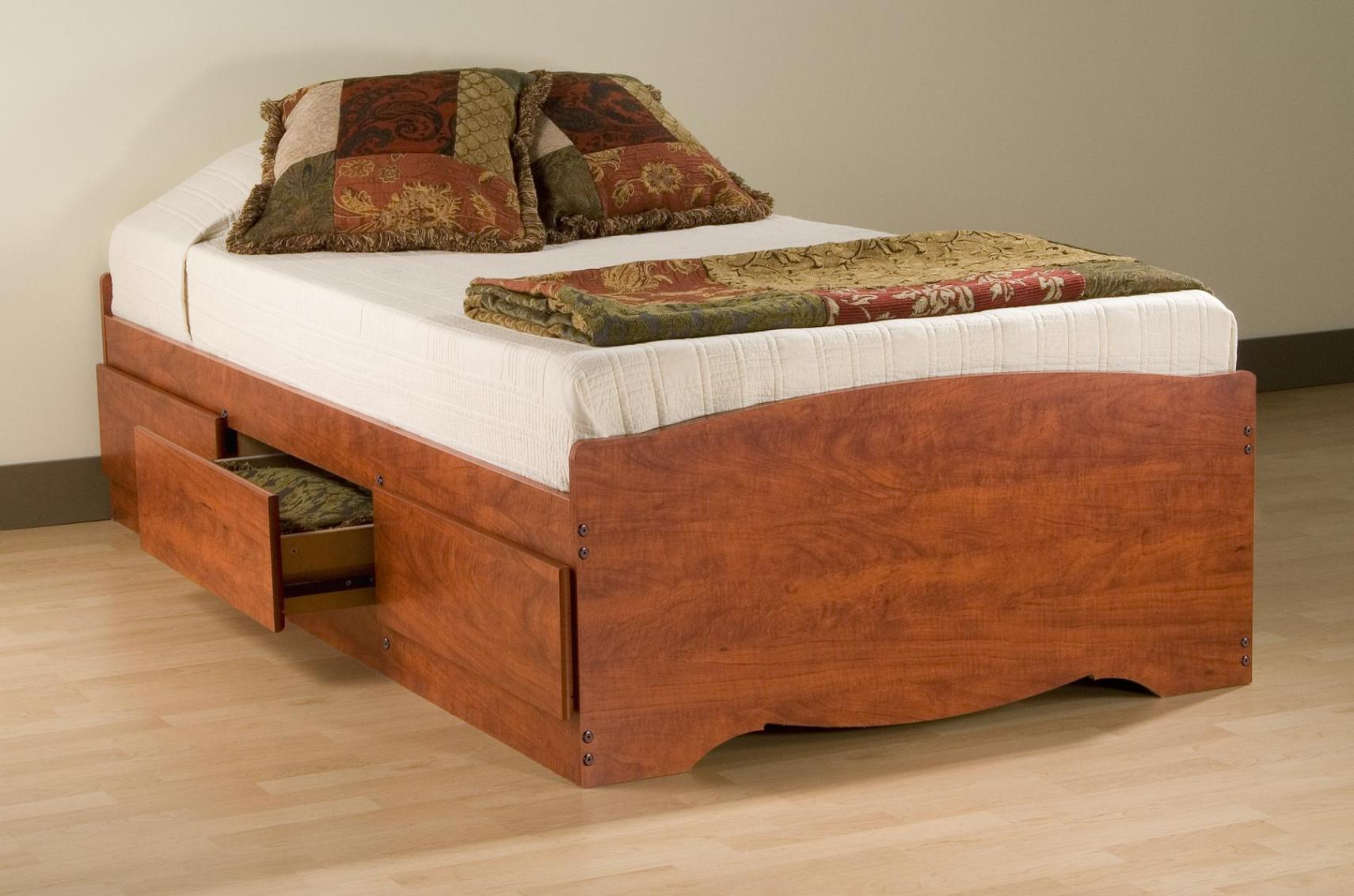 Image of: Wooden Twin Bed Frame With Drawers