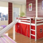 Low Loft Bed With Red Tent Slide White Bedroom Furniture Beds