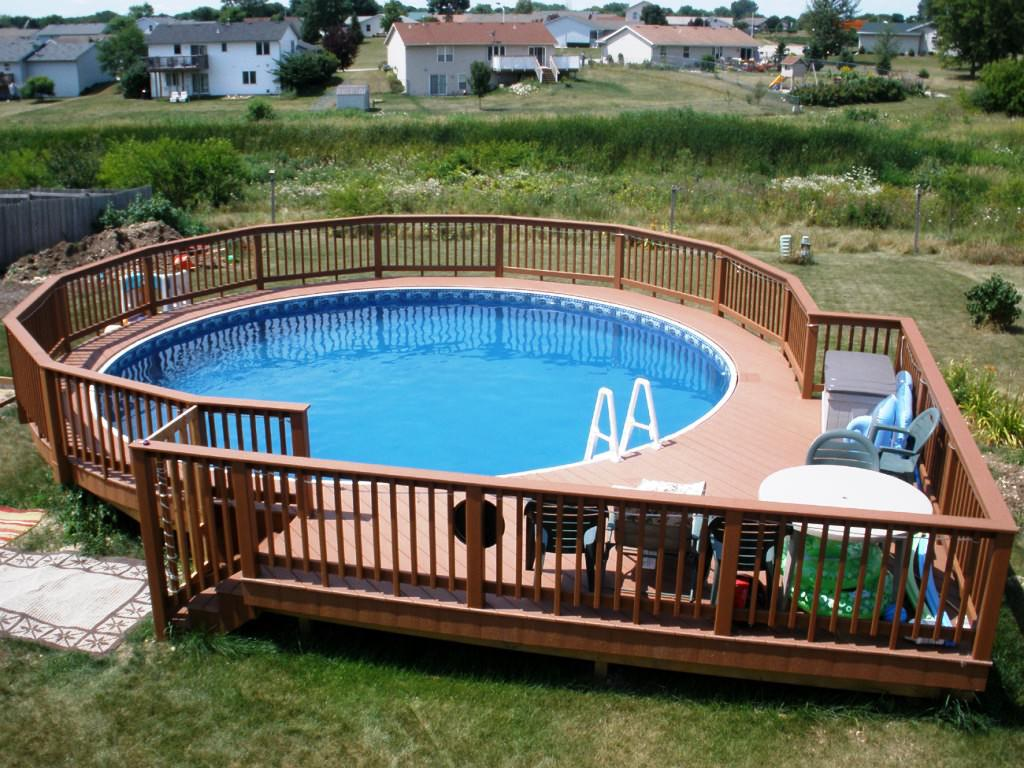 Image of: Above Ground Pool Fence Wood