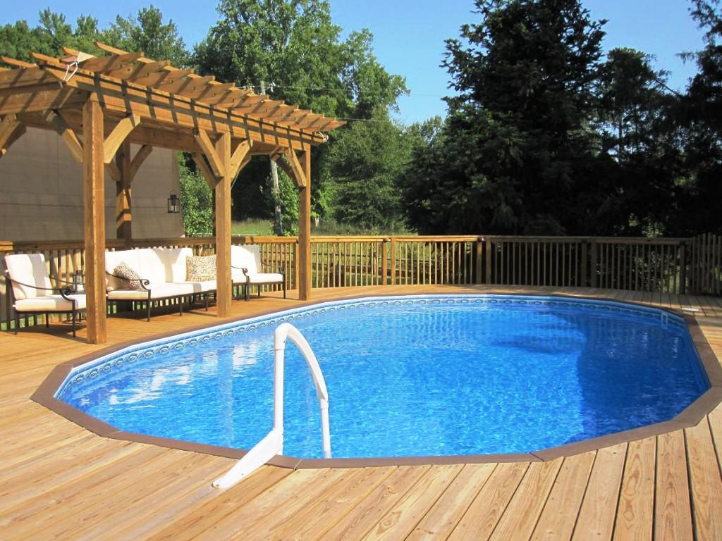 Image of: Above ground pool deck designs Down to Pool