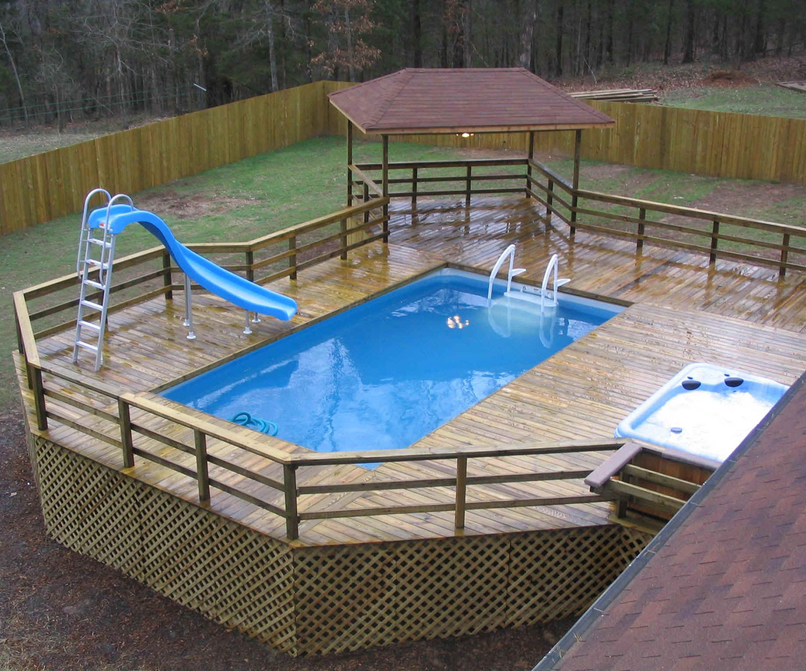 Image of: Above ground pool deck designs Included