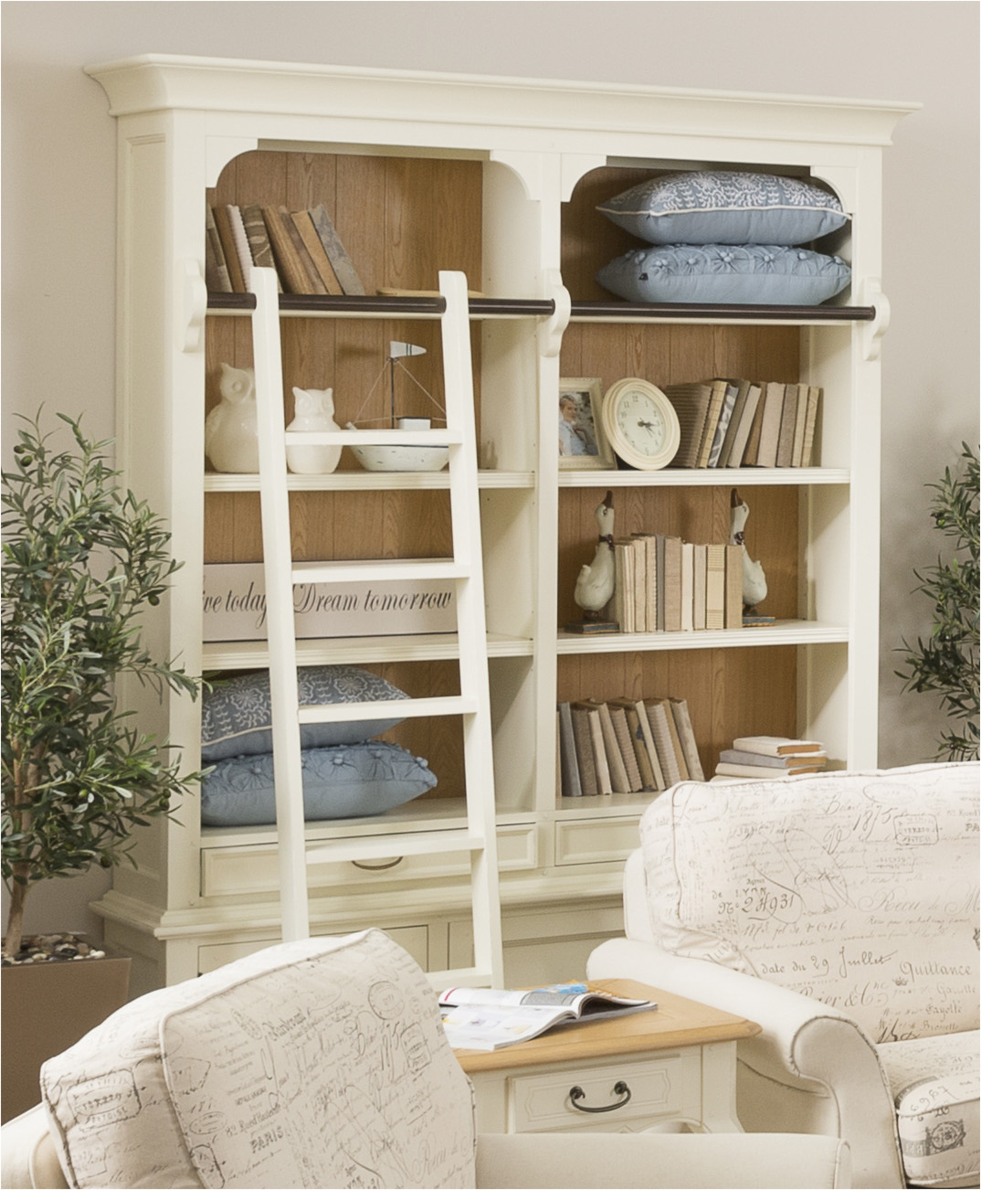 Image of: Admirable White Leaning Bookcase