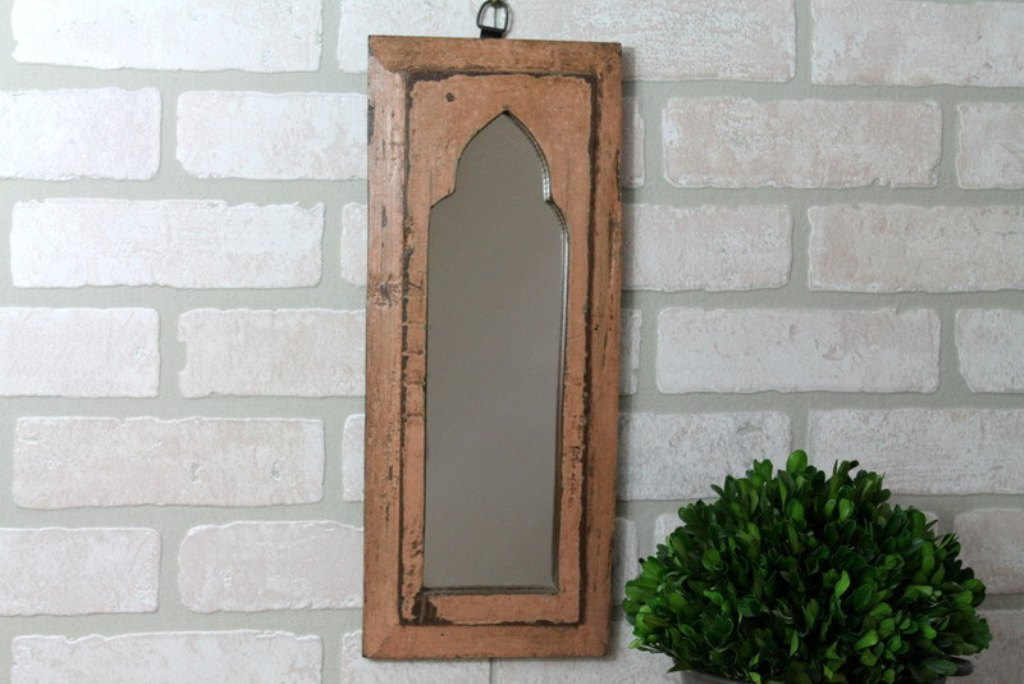 Image of: African Reclaimed Wood Wall Mirror