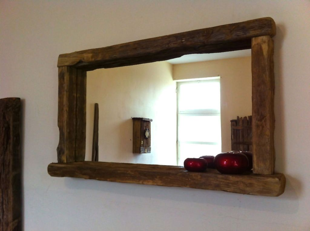 Image of: Aged Reclaimed Wood Wall Mirror