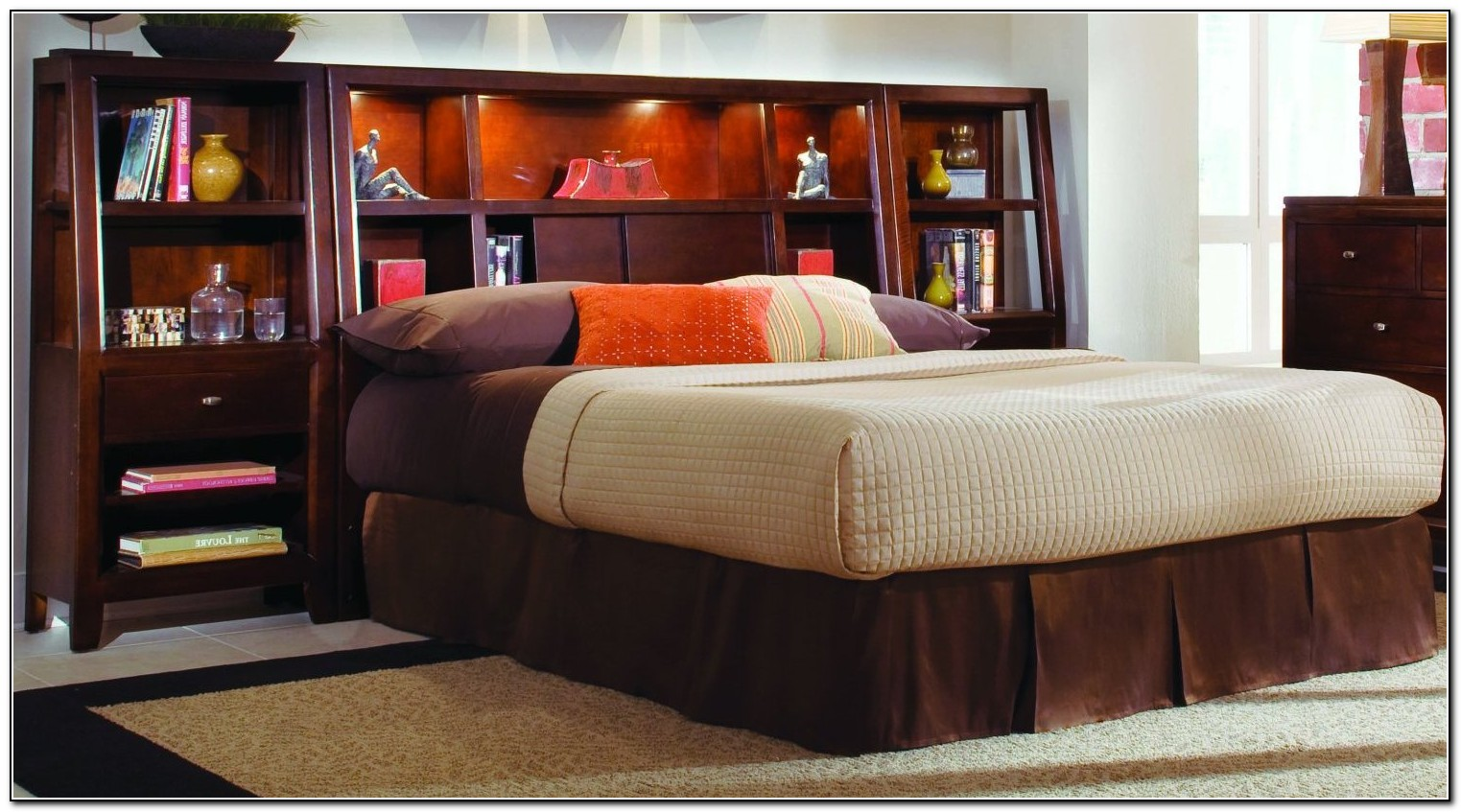 Image of: Amazing King Size Bookcase Headboard