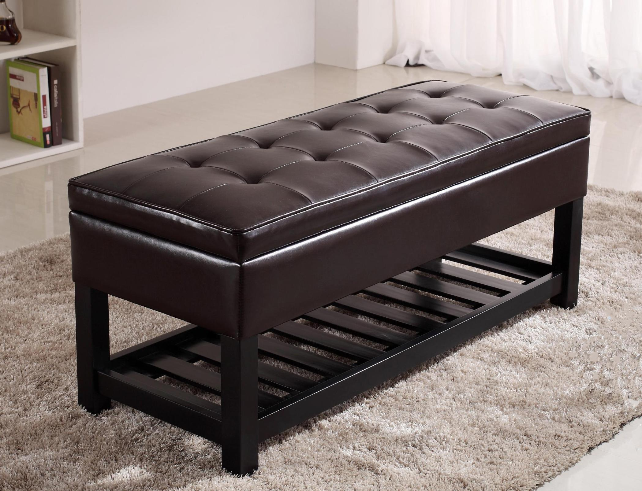 Image of: Armed Storage Ottoman Bench