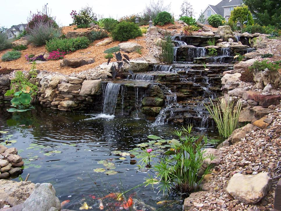 Image of: Beautiful Outdoor Waterfall Fountain