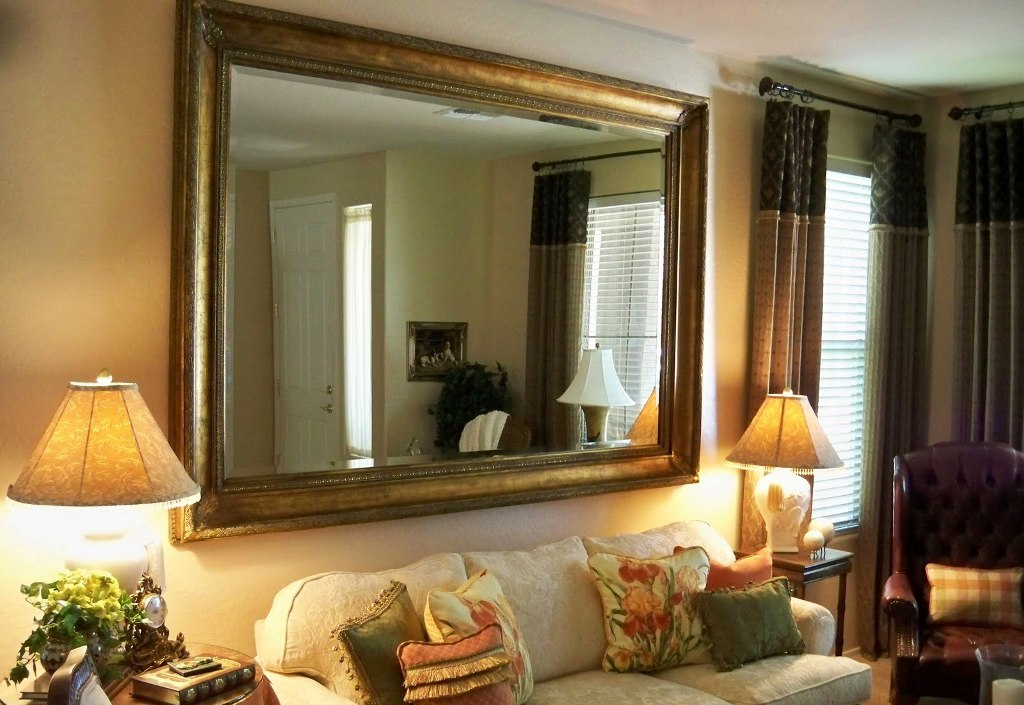 Big Wall Mirrors above Fireplace