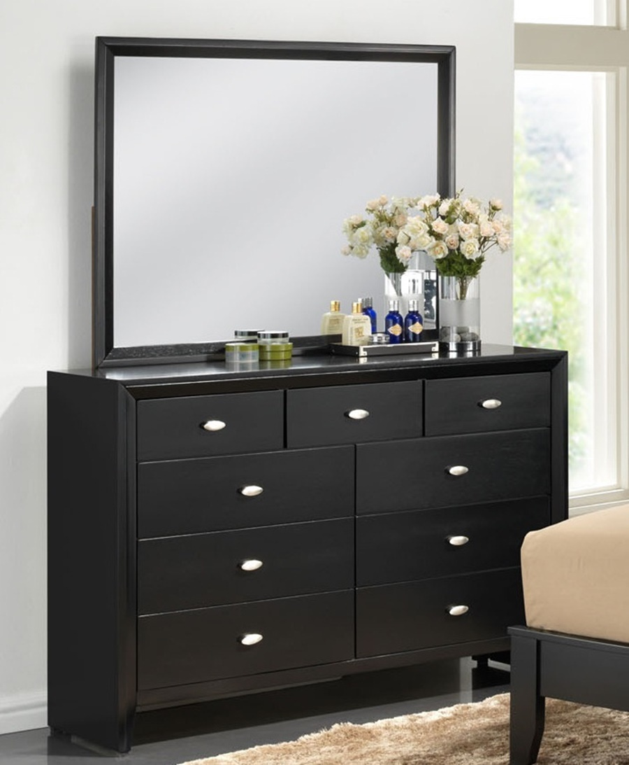 Image of: Black Dresser With Mirror