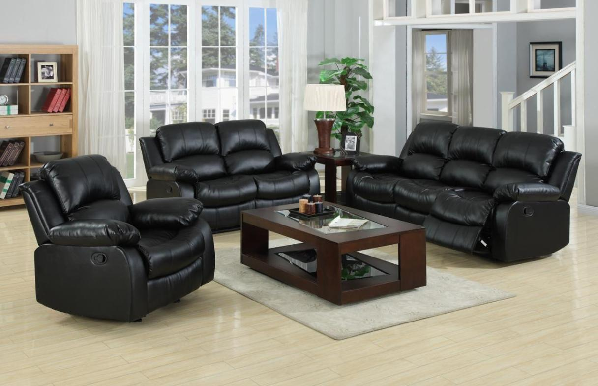 Image of: Black Leather Reclining Couch