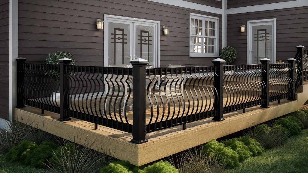 Image of: Black Metal Deck Railing Ideas