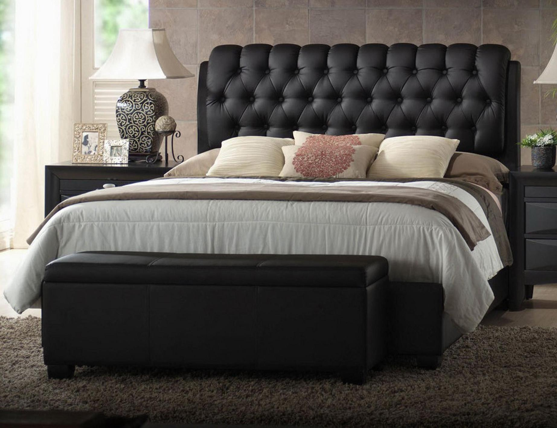Image of: Black Quilted Headboard