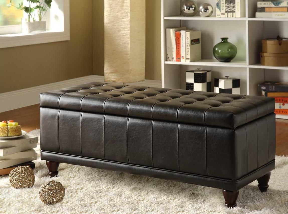 Image of: Black Storage Ottoman Bench