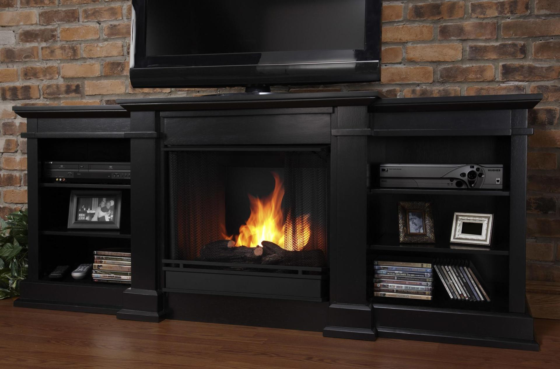 Image of: Black Tv Stand With Electric Fireplace