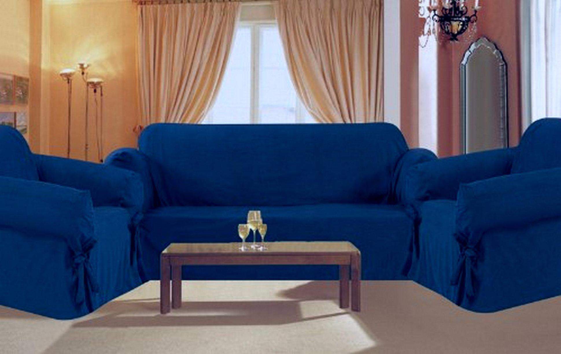 Image of: Blue Loveseat Cover
