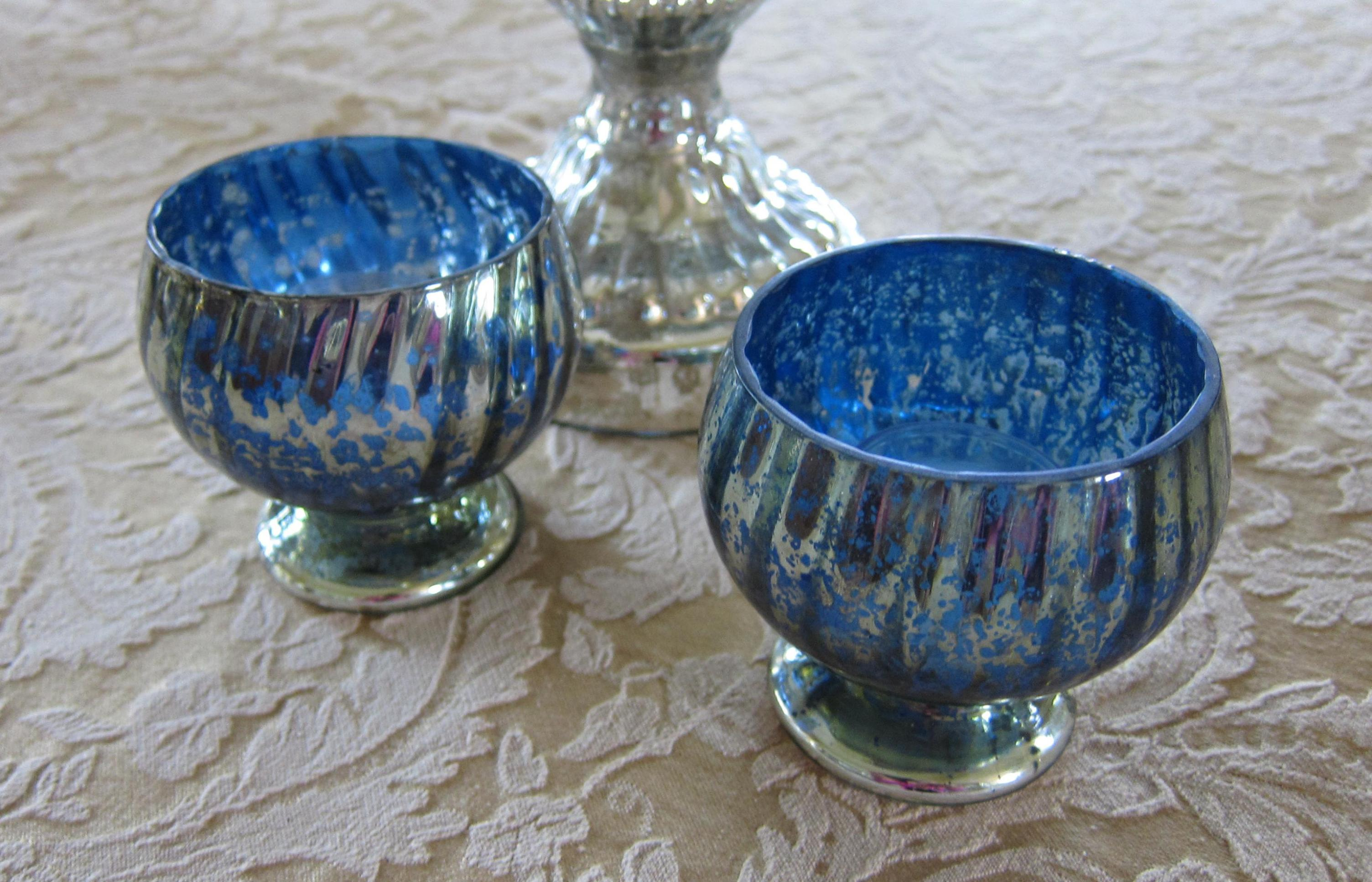 Image of: Blue Mercury Glass Candle Holders