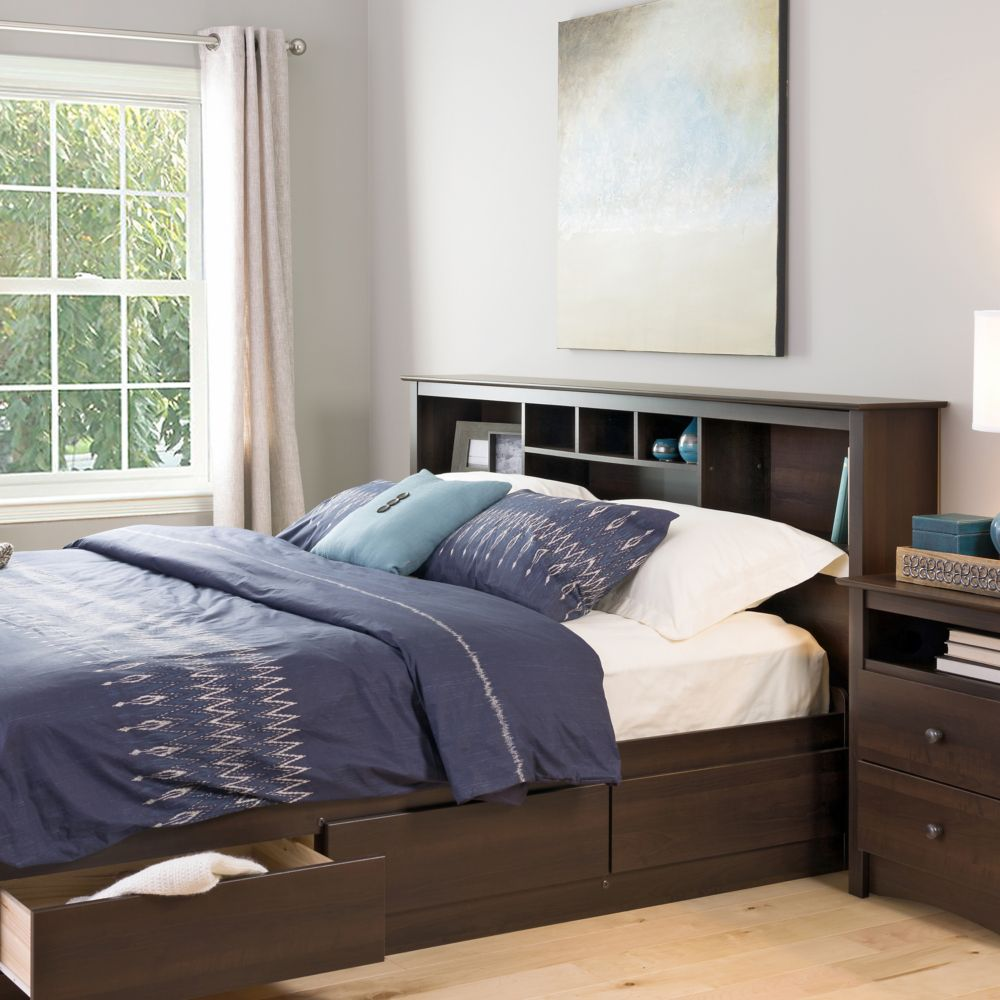 Image of: Bookcase Headboard King  for Queen Beds