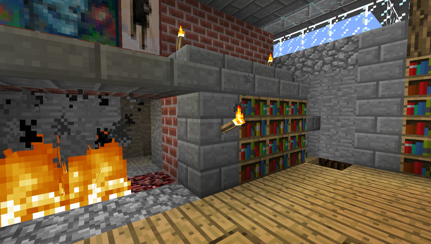 Image of: Bookcase Minecraft Style
