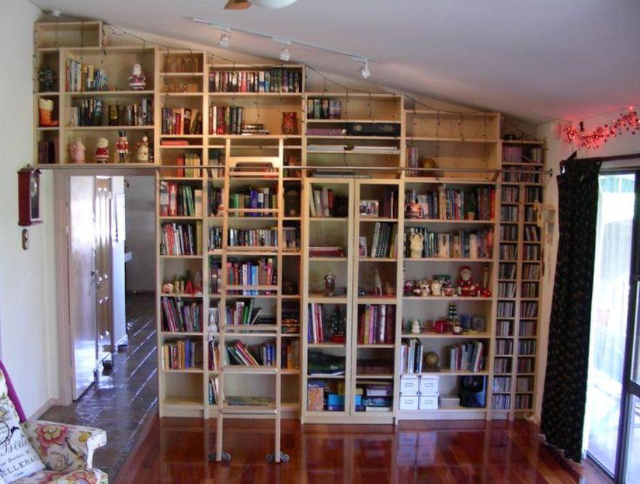 Image of: Bookcase ladder and rail