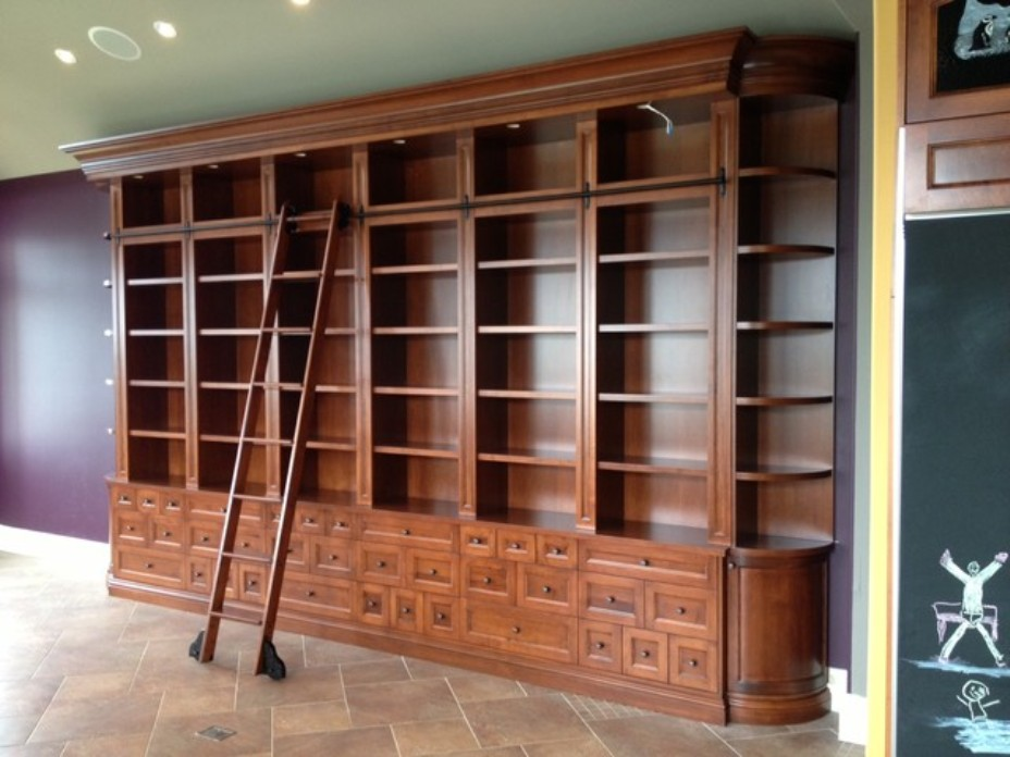 Image of: Bookcase ladder rolling