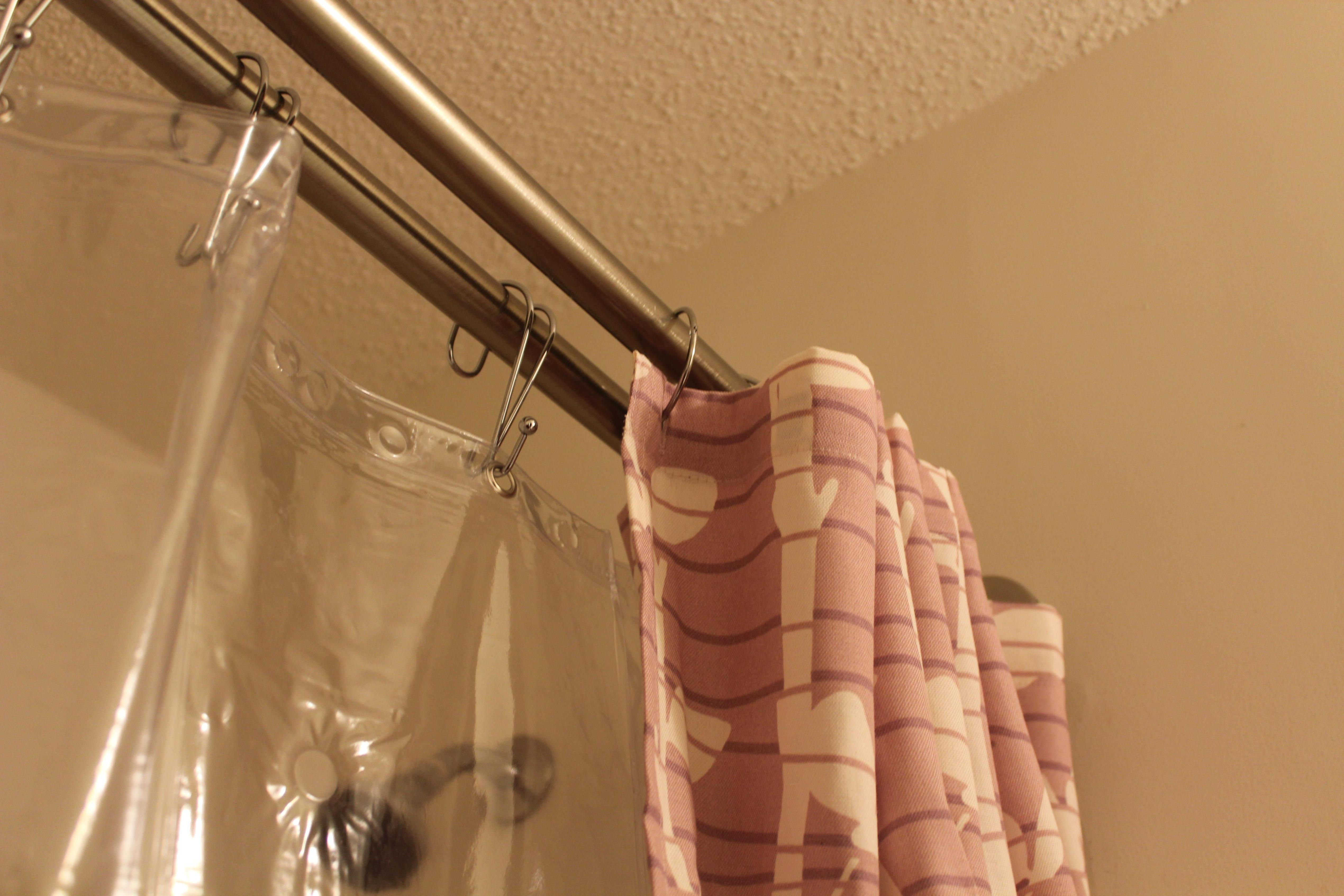 Image of: Bronze Double Shower Curtain Rod