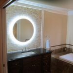 Bronze Lighted Makeup Mirror Wall Mounted