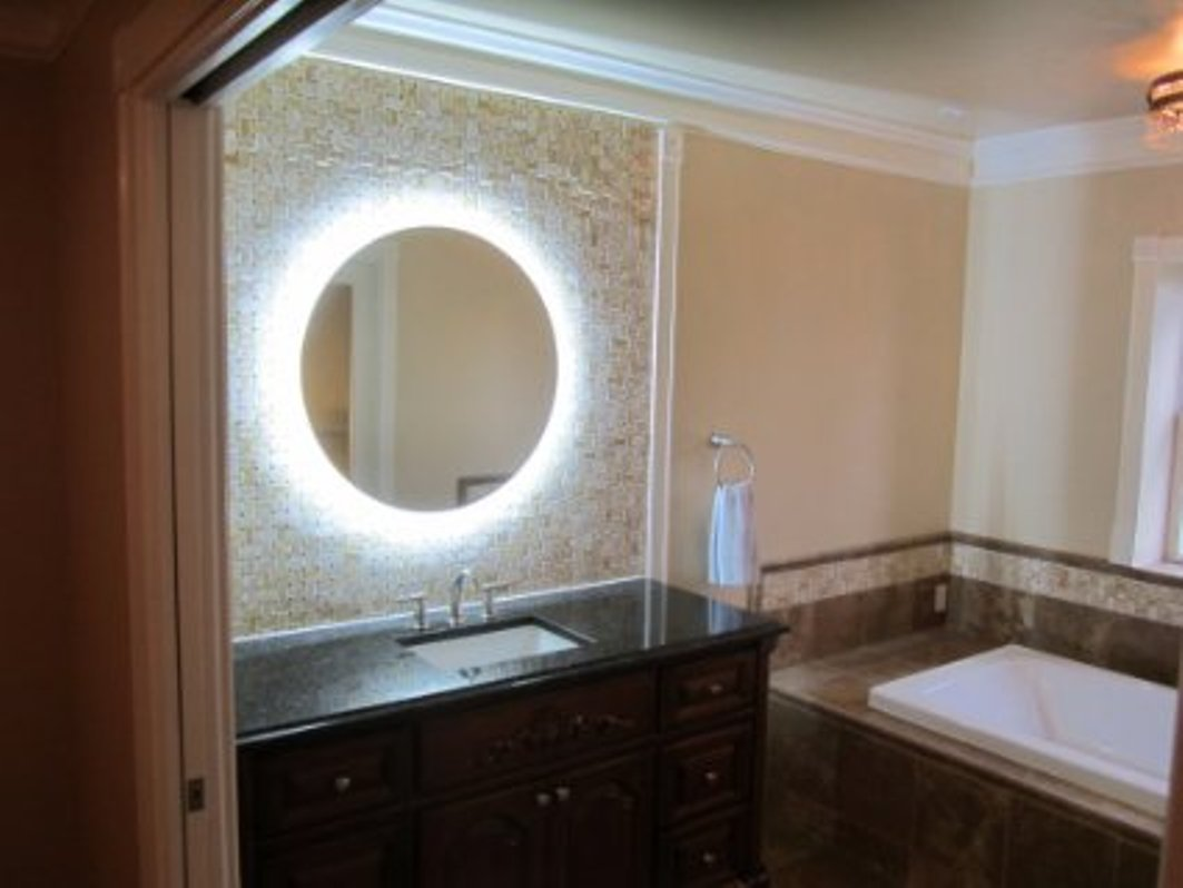 Image of: Bronze Lighted Makeup Mirror Wall Mounted