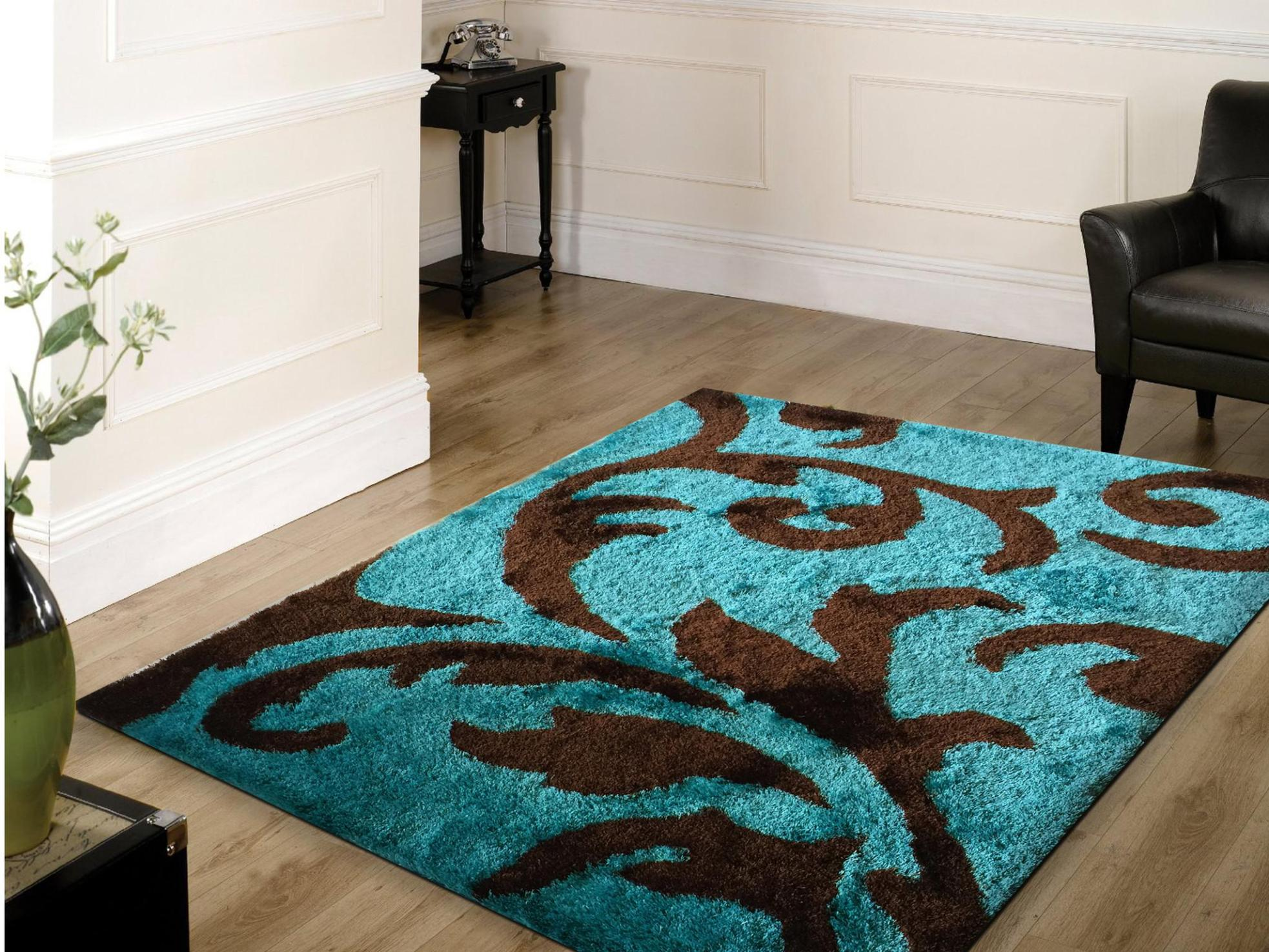 Image of: Brown And Turquoise Area Rug