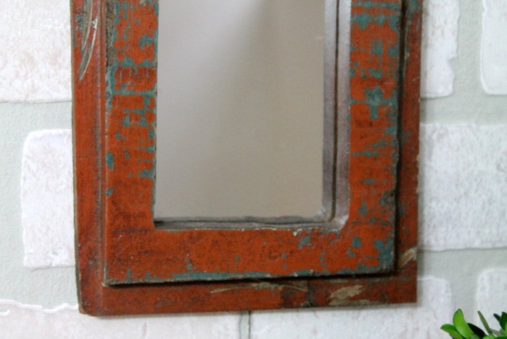 Image of: Brown Reclaimed Wood Wall Mirror