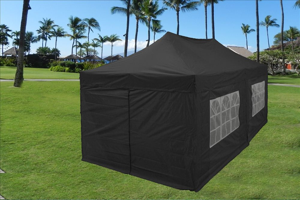 Image of: Canopy Tent with Sides Black
