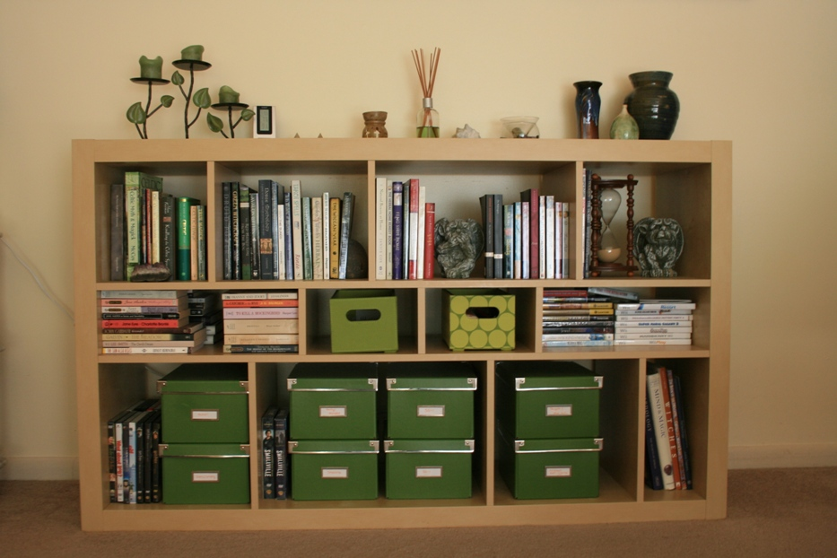 Image of: Carson horizontal bookcase with adjustable shelves  cherry