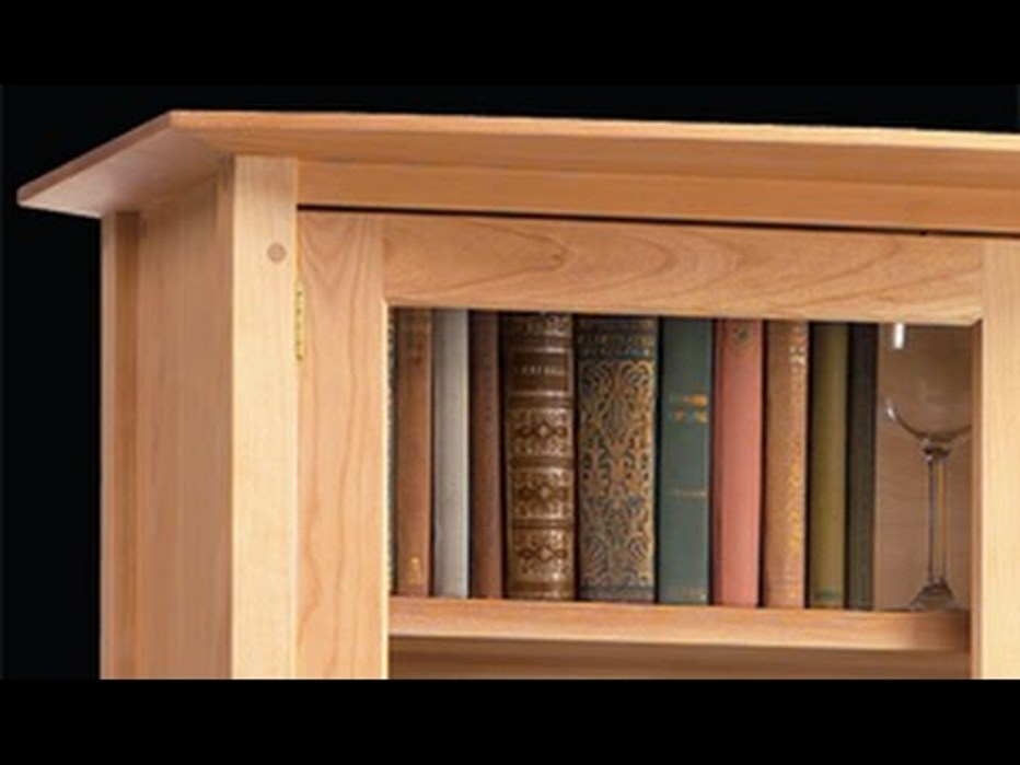 Image of: Cherry wood corner bookcase