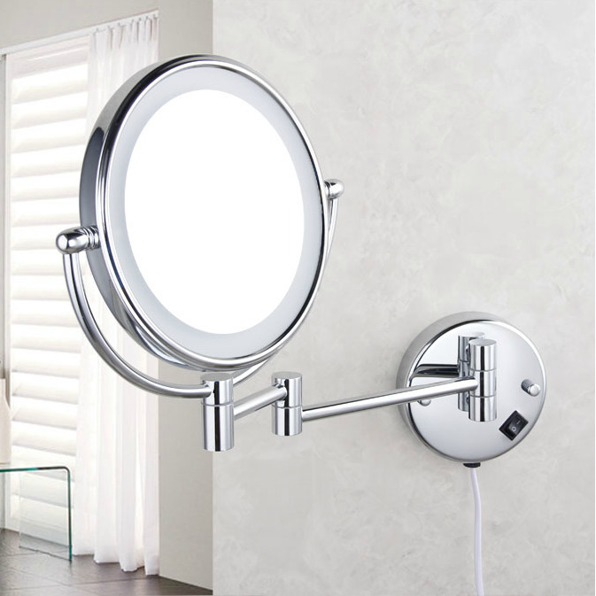 Image of: Compact Lighted Makeup Mirror Wall Mounted