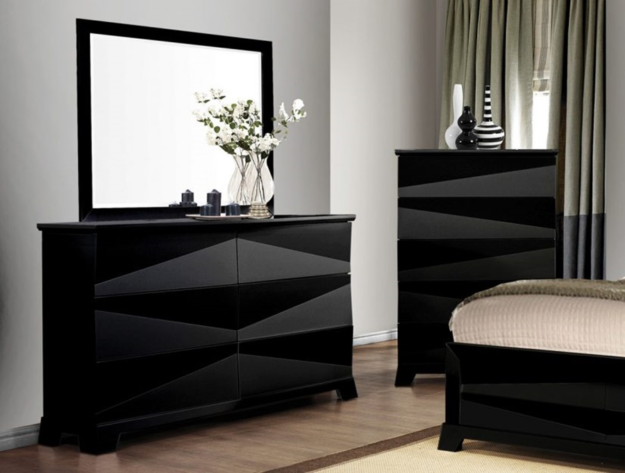 Image of: Contemporary Black Dresser With Mirror