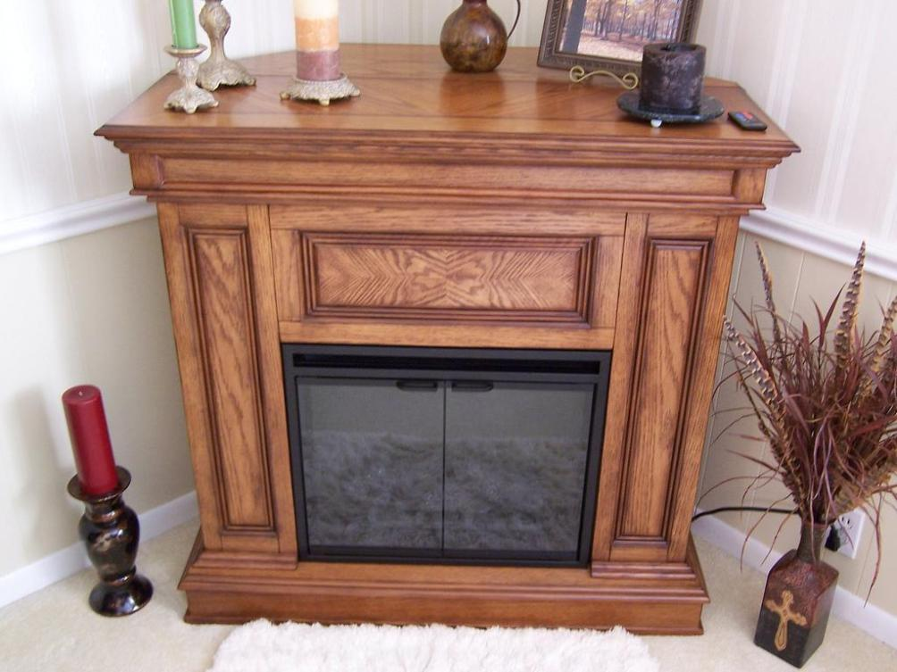 Image of: Corner Electric Fireplace With Mantel