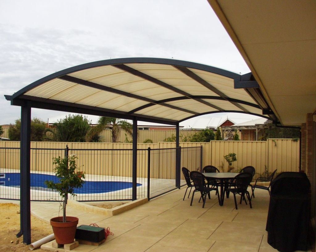 Image of: Curved Metal Patio Awning