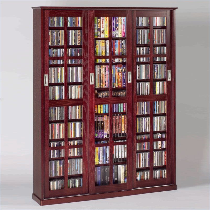 Image of: DVD Bookcase Glass Door